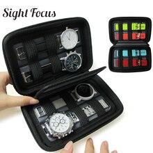 שחור קליפה קשה 4 חריץ תיבת שעון עמיד למים מארגן נסיעות שעון אחסון רוכסן מקרה נייד שעון רצועת להקת ארגונית תיק