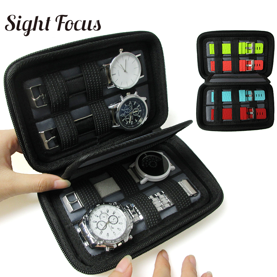 Black Hard Shell 4 Slot Watch Box Organizer Waterproof Travel Watch Storage Zipper Case Portable Watch Strap Band Organizer Bag