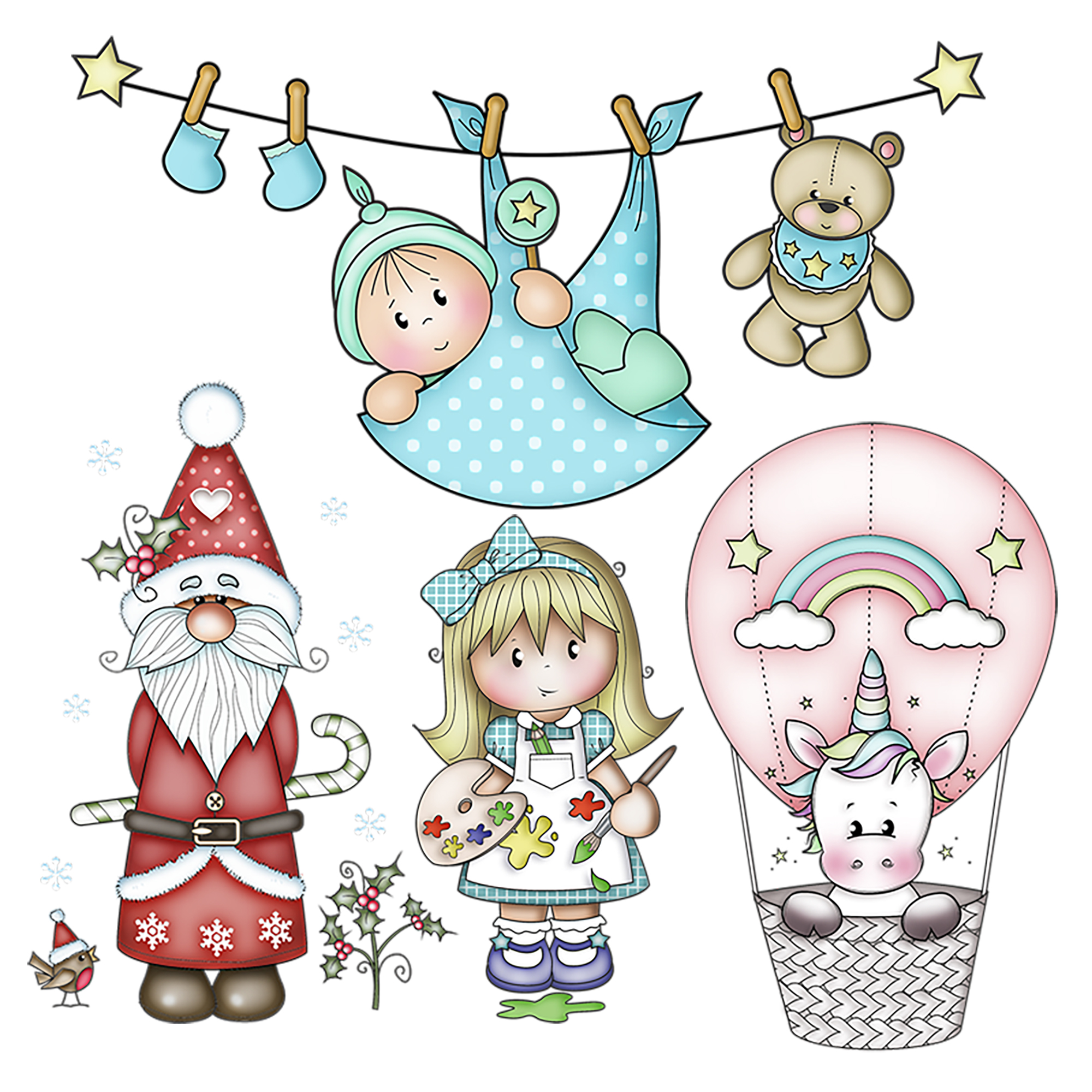 New Unicorn Baby Girl Metal Cutting Dies Bear Gingerbread Santa Balloon Doll Embossing Stencil DIY Scrapbooking Card Decoration