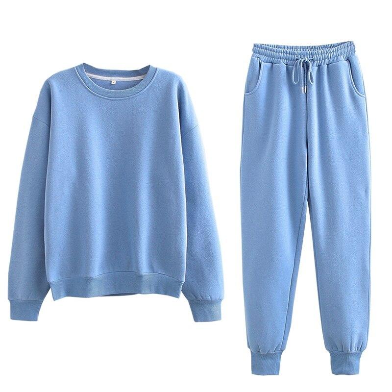 Tangada 2020 Autumn Winter Women warm yellow fleece 100% cotton suit 2 pieces sets o neck hoodies sweatshirt pants suits 6L24 10