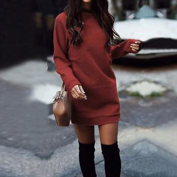Женское плотное прямое платье-свитшот с длинным рукавом и круглым вырезом, модель WDC4058 на осень и зиму, 2020 5