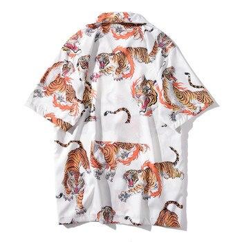 tiger print shirt Mens fashion Summer hawaiian Shirts short sleeve Casual shirts Beach Tops Loose Shirts plus size рубашка мужск 2
