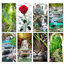 5D DIY Waterfall Flowers Diamond Painting Scenic Embroidery Square Rhinestones Home Decor Diamonds Mosaic