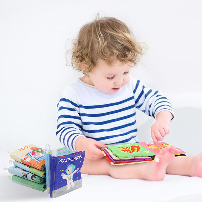 Baby Soft Cloth Books Newborn Soft Fabric Book With Rustle Sound Animal Food Cognition Learning Educational Toy Infant Gifts