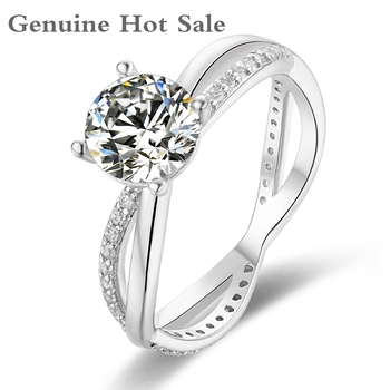 Moissanite 925 Silver Ring 1.0ct 6.5mm D Color Round Cut Fashion Love Token Women Girlfriend Courtship Gift With Certificate