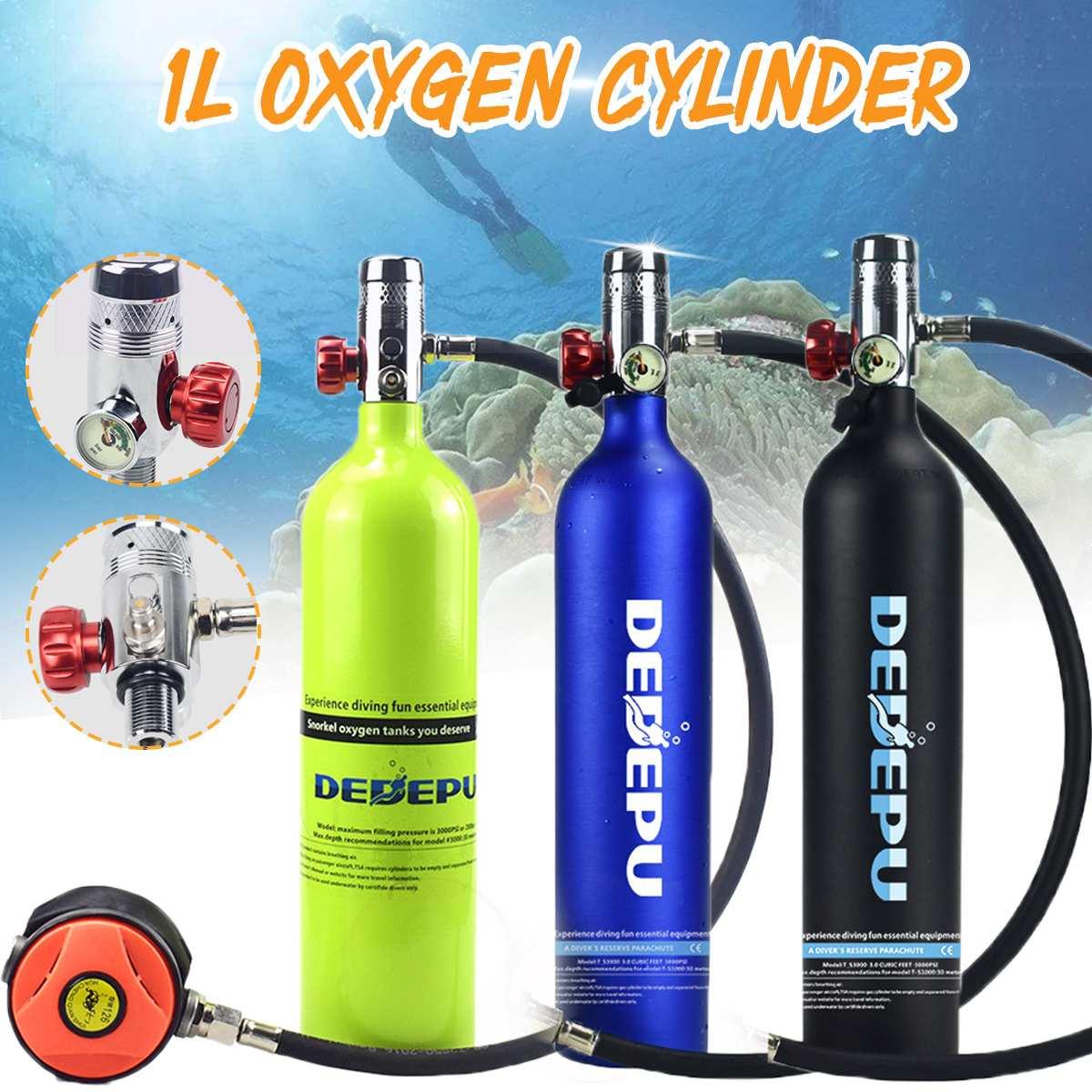 Equipo de Buceo 1L, cilindro de buceo, tanque de oxígeno, respirador, adaptador de repuesto, bomba de alta presión, accesorios de respiración de buceo - 2
