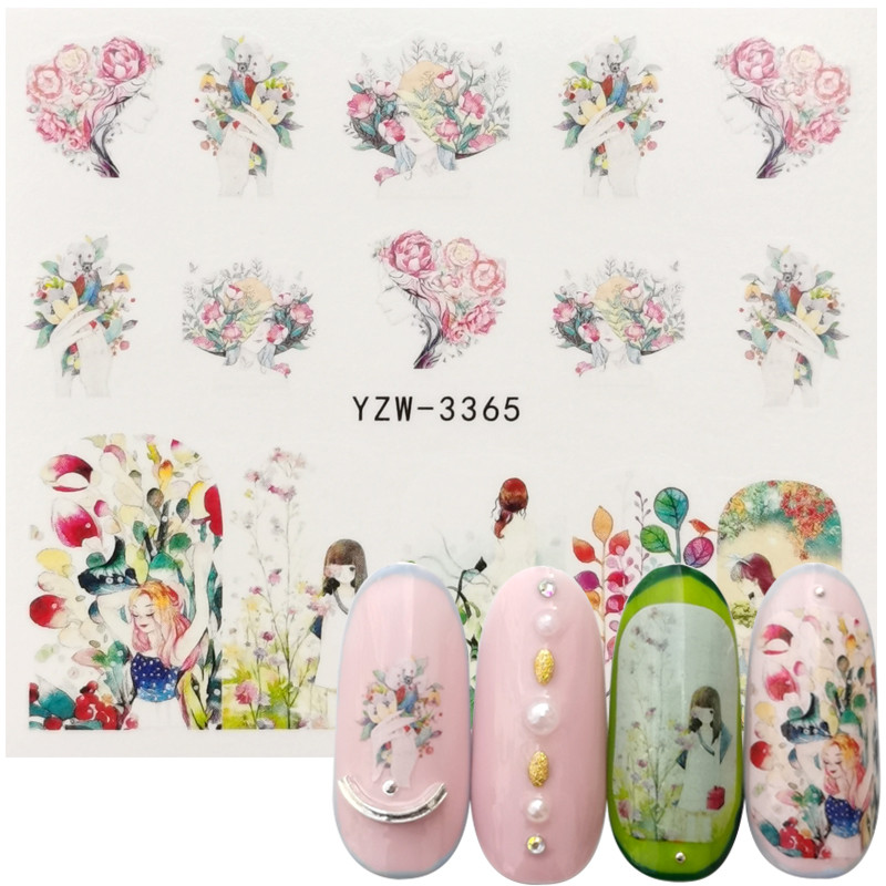 1 Sheet Nail Water Sticker DIY Chic Bouquet Nail Art Paper Decoration  Comic Girl Style Manicure Modeling Decals Tool