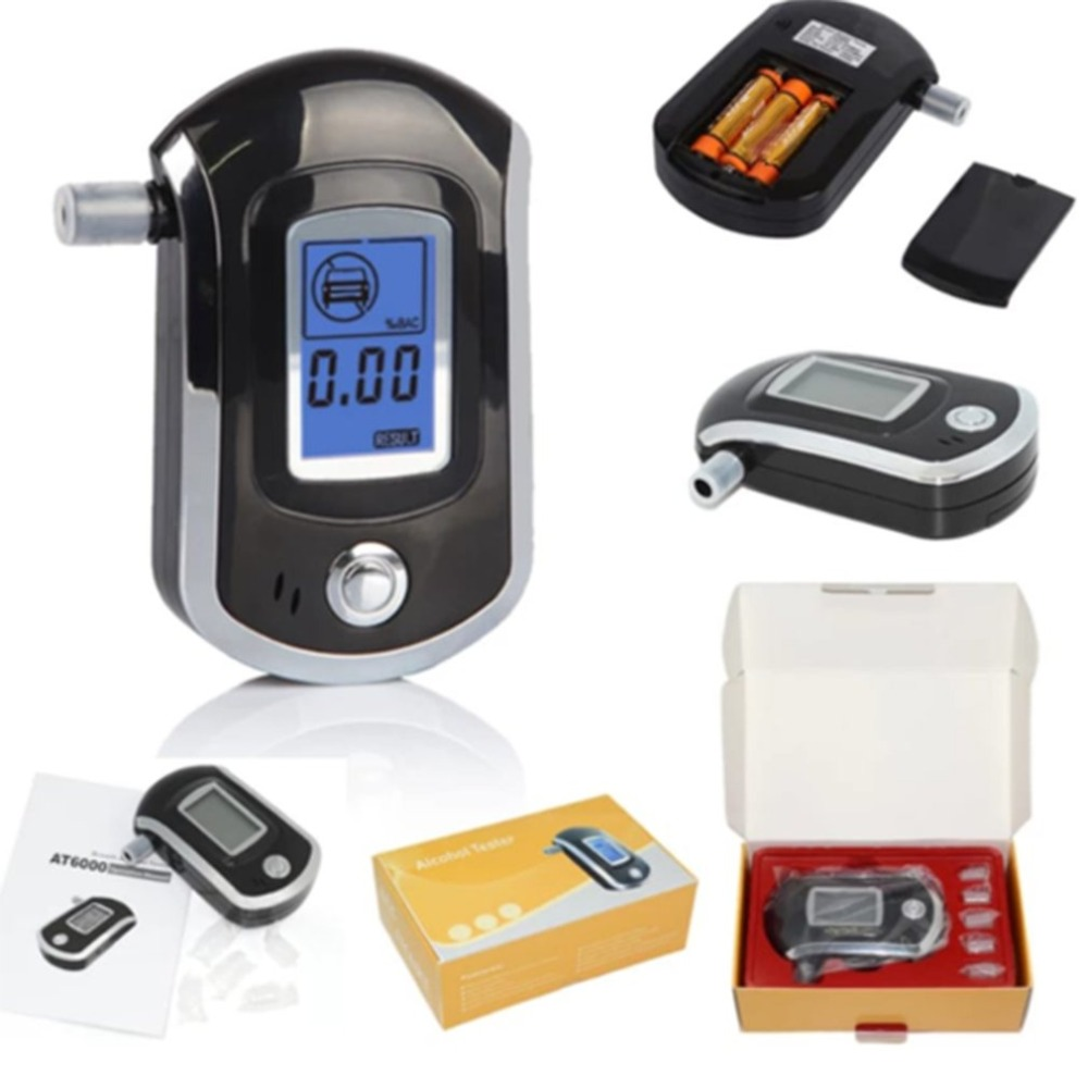 NewAT6000 Digital Breath Alcohol Tester LCD Breathalyzer Analyzer With Colorful Box Hot