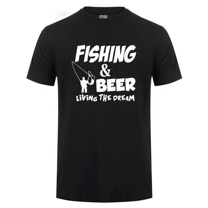 And Beer Living The Dream Funny Birthday Present For Men Husband Fishinger Fisherman Cotton Short Sleeve T Shirt T-Shirt