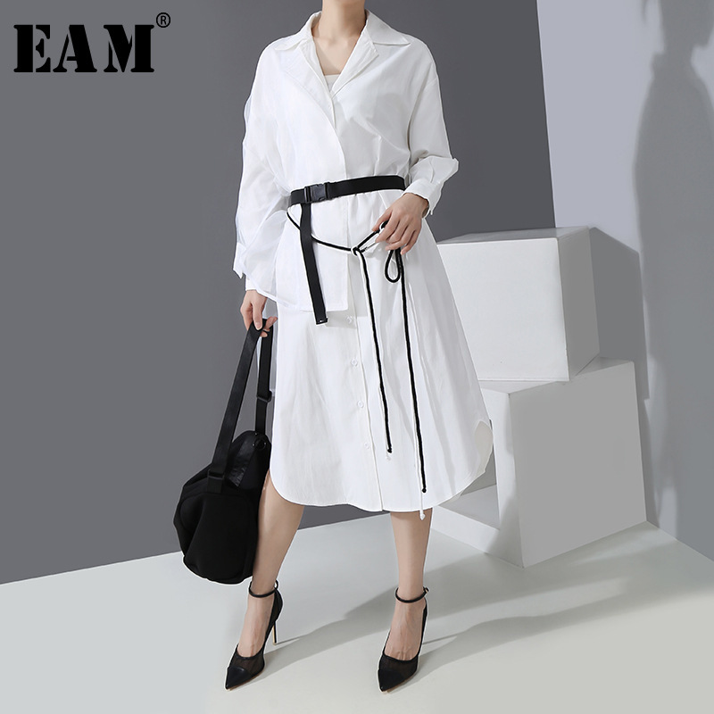 [EAM] Women White Bandage Asymmetrical Shirt Dress New Notched Long Sleeve Loose Fit Fashion Tide Spring Autumn 2020 1R300
