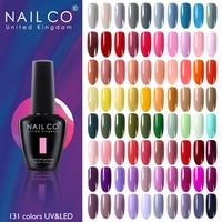 NAILCO 131 colores de uñas de Gel polaco de LED Gel Semi permanente 15ML Gel de uñas barnices híbridos de laca de manicura