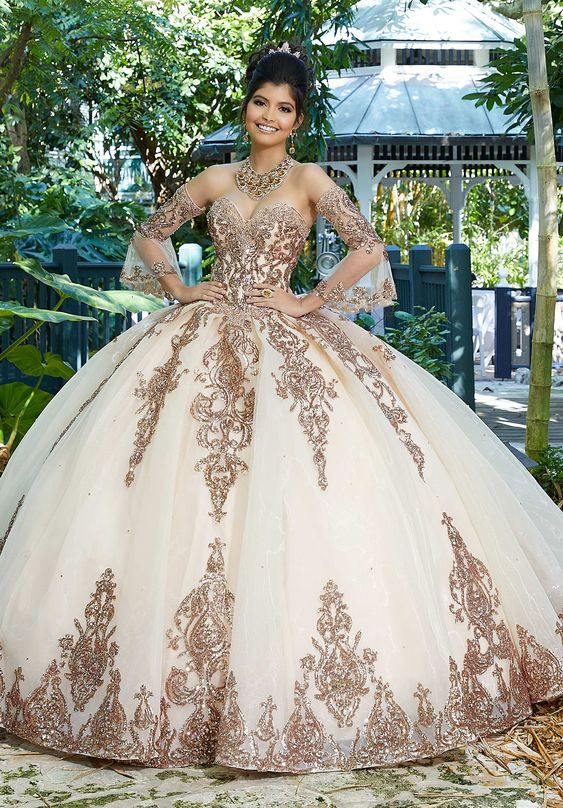 Ball Gown Sweet 16 Quinceanera Dresses Lace Sweep Train Organza Vestidos De 15 Anos Girls Robe Long Sleeves