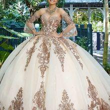 Ball Gown Sweet 16 Quinceanera Dresses Lace Sweep Train Organza Vestidos De 15 A