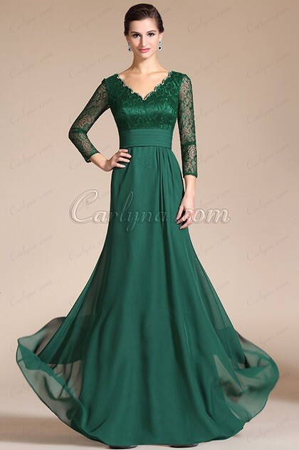 2018 Green Long Formal women elegant Long Sleeve Lace V Neck Evening gown robe de soiree mother of the bride dresses