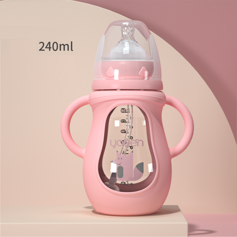 2019 New Baby Bottle Glass Anti-fall Wide Caliber Anti-flatulence Newborn Imitation Breast Milk Silicone Nipple