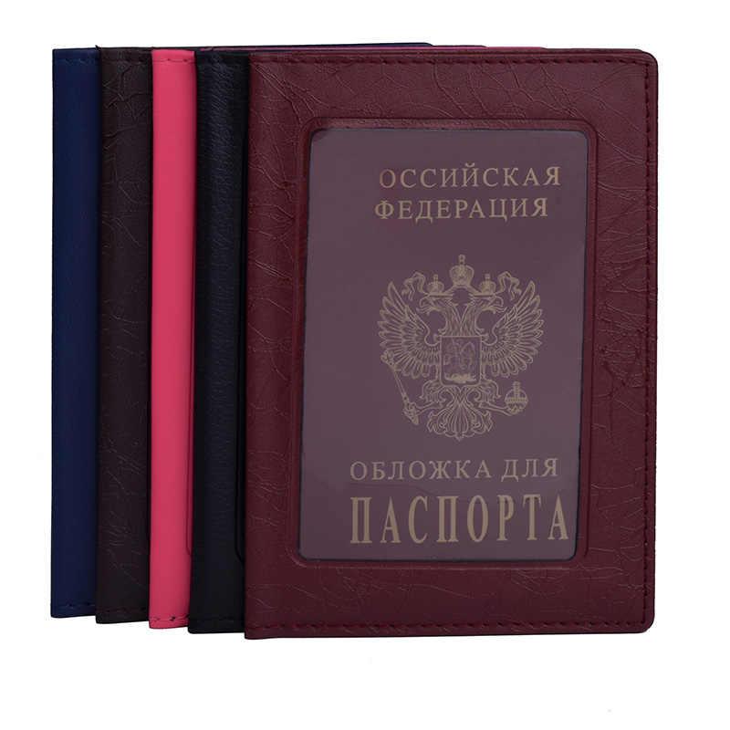 Reise Reisepass Leder Mode Russische Passport Abdeckung Fall Brieftasche für Männer Frauen Reise Dokument