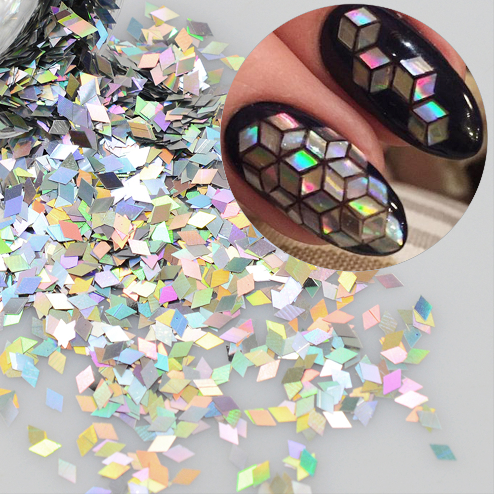 1 Box Holographic Nail Flakes Rhombus Diamond Holo Nail Glitter Sparkly Mini Slice Paillette Sequins For Nail Art Decor TRLS1-16