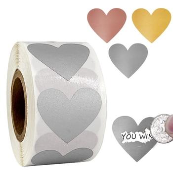 300 adet kalp şekli gümüş altın Scratch Off etiketler aşk Scratch Off etiketler etiket parti etkinliği oyun piyango etiket