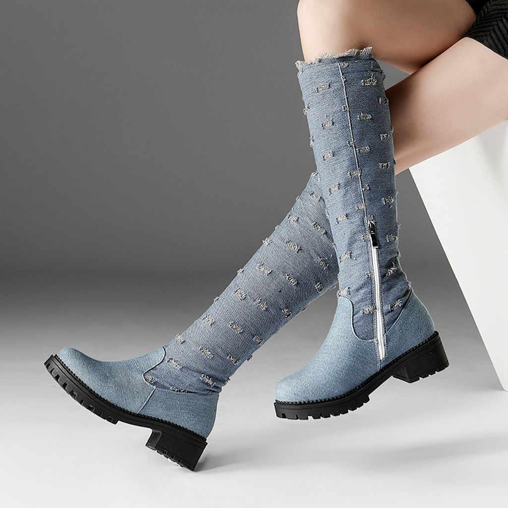 Kadın diz yüksek uzun çizmeler moda yuvarlak ayak kalın topuk rahat ayakkabı kadın fermuar düz renk kot isıtıcı yürüyüş kar botları