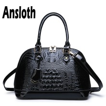Ansloth Patent Leather Handbag Ladies Large Capacity Shell Bag Women Luxury Designer Handbag Female Shoulder Bag Tote Bag HPS723 tuladuo women shoulder bag leather large capacity ladies handbag 2017 new spring female tote bag famous brand designer 5 color