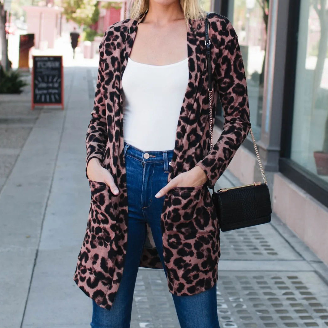 Women Long Sleeve Cardigan Tops Casual Leopard Print Loose Outwear Trench Coat