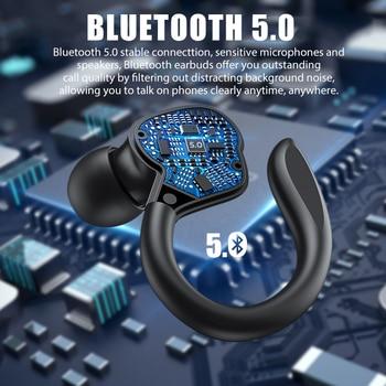 TWS Bluetooth Earphones With Microphones Sport Ear Hook LED Display Wireless Headphones HiFi Stereo Earbuds Waterproof Headsets 2