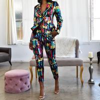 Echoine Colorful Print Women Pant Suits Blazer Jacket & Pencil Pant 2 Piece Set OL Work Office business suits combinaison femme