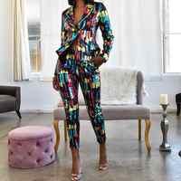 Echoine coloré femmes pantalon costumes Blazer veste crayon pantalon 2 pièces ensemble OL travail bureau affaires costumes combinaison femme