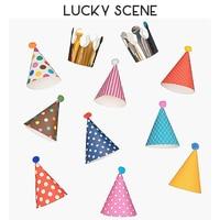 Conjunto de colección de sombreros y corona para fiesta de cumpleaños para niños o adultos, accesorios de disfraces, colores surtidos, 10 Uds., S00233