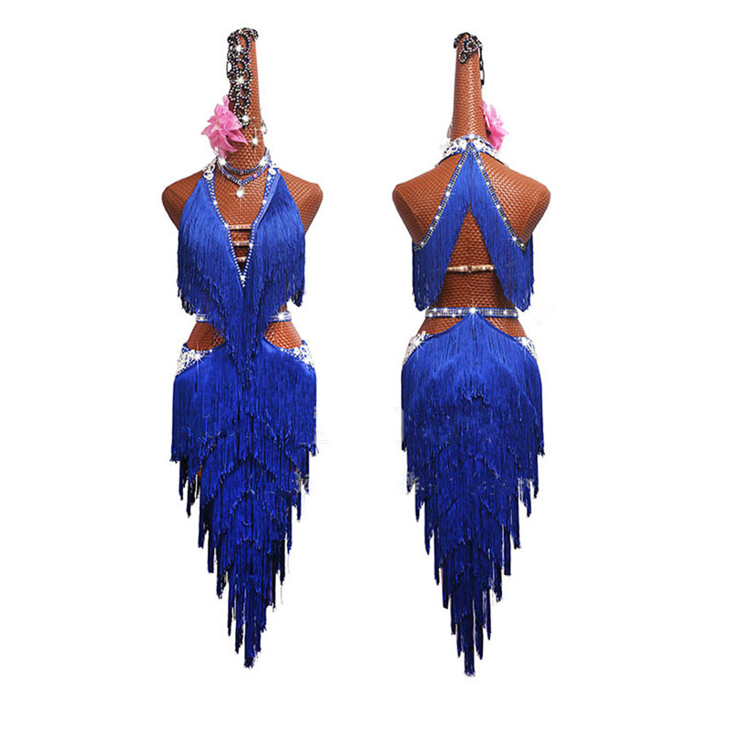 Shiny Rhinestone Latin Dance Dress Women High-end Custom Girl And Adult Female Blue Fringed Dance Dresses Competition Costumes
