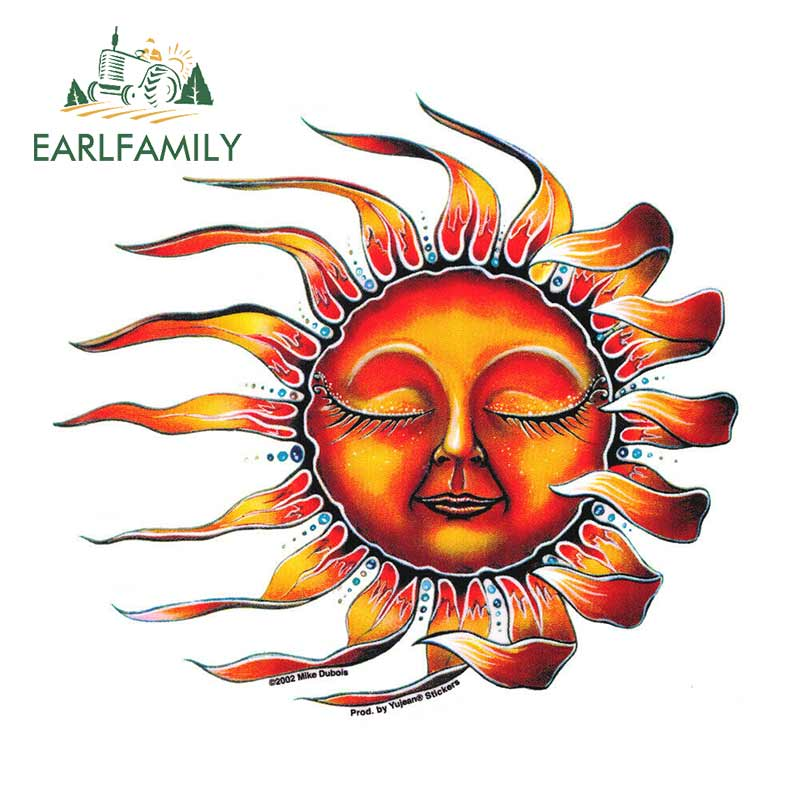 EARLFAMILY 13cm X 11.8cm Vinyl Hippie Window Car Celestial Sun Sticker Cool Laptop Decal Women Personality Car Stickers