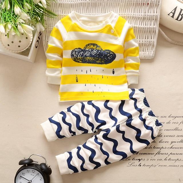 Autumn Winter 2021 Baby Boy Girls Clothes Cotton Girl Clothing Sets Cartoon Long-Sleeved T-Shirt+Pants Infant Clothes 2pcs Suit 3