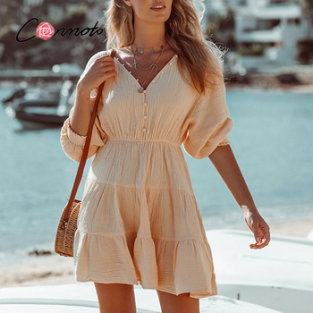 Conmoto Sexy deep v-neck bubble sleeves dress Elegant button elastic waist woman dress Pure color summer short dress 2021 new 1