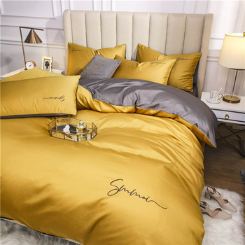 OLOEY 60S long-staple cotton Bedding Set Egyptian Solid color embroidery Bed set Duvet Cover Bed Sheet spread Fit sheet bed set 1