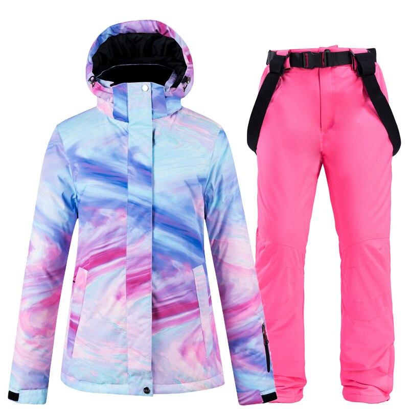 Nouveau ski veste et pantalon neige costumes femmes ski ensembles chaud imperméable coupe-vent snowboard ensembles hiver extérieur clouthes