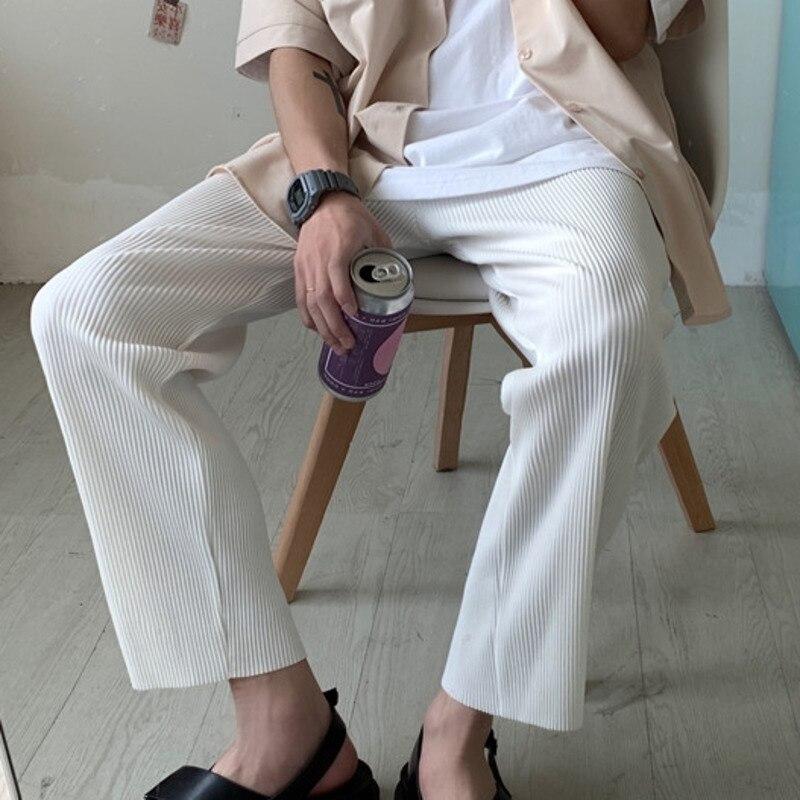 Straight Pants Men's Fashion Solid Color Stretch Waist Casual Pants Men Streetwear Wild Hip-hop Loose Trousers Mens S-XL