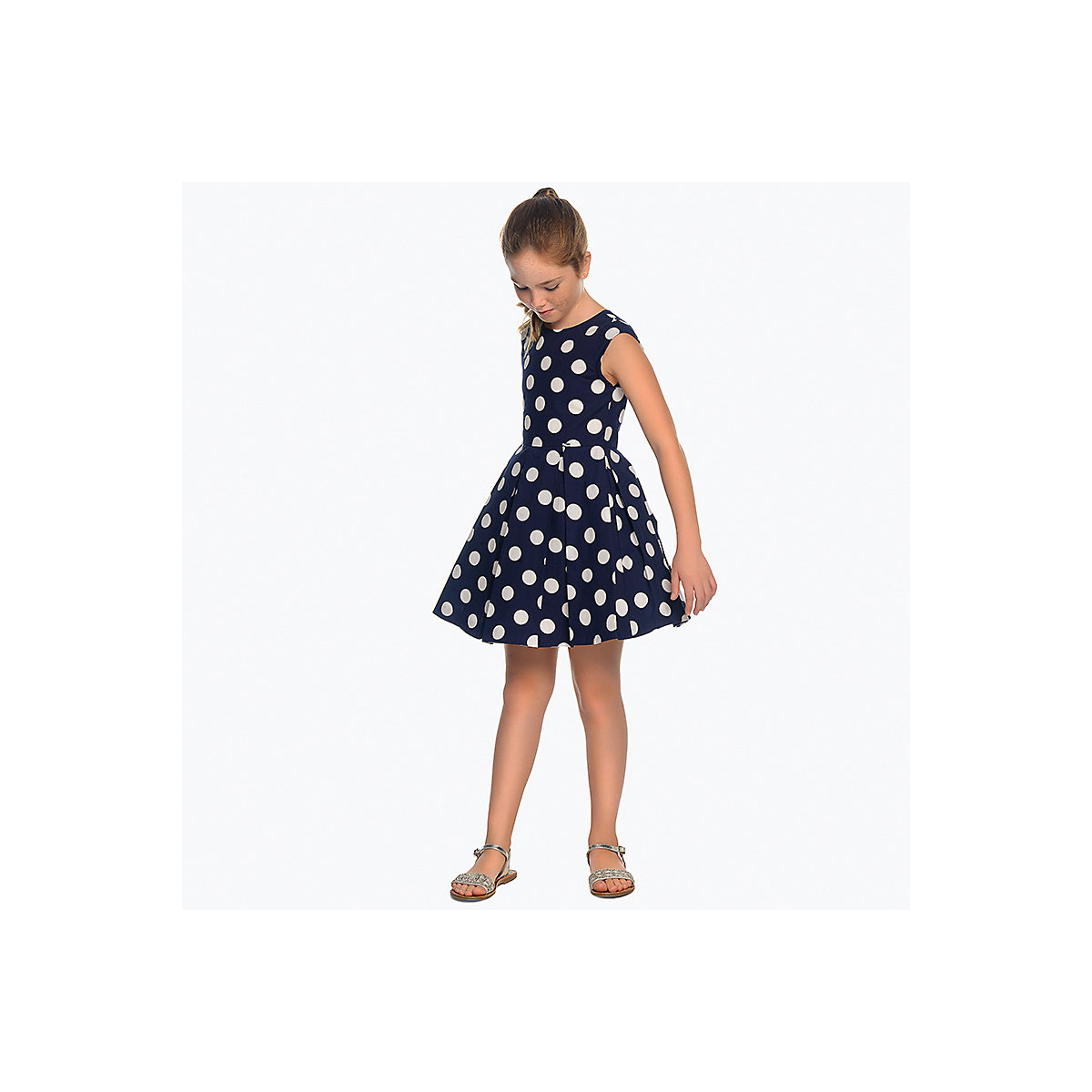 MAYORAL Dresses 10685019 Girl Children fitted pleated skirt Blue Cotton Casual Dot Knee-Length Sleeveless Sleeve navy velvet mini pleated skirt