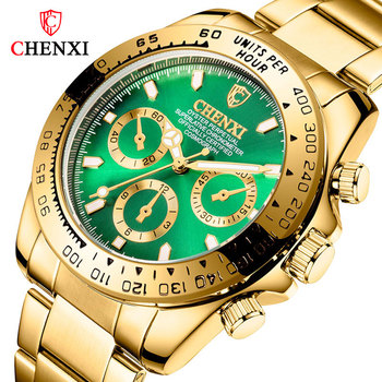 Luxury Brand Men Watches Man Stainless Steele Quartz Wristwatches Green Watches for Male Luminous Waterproof Watch with Calendar