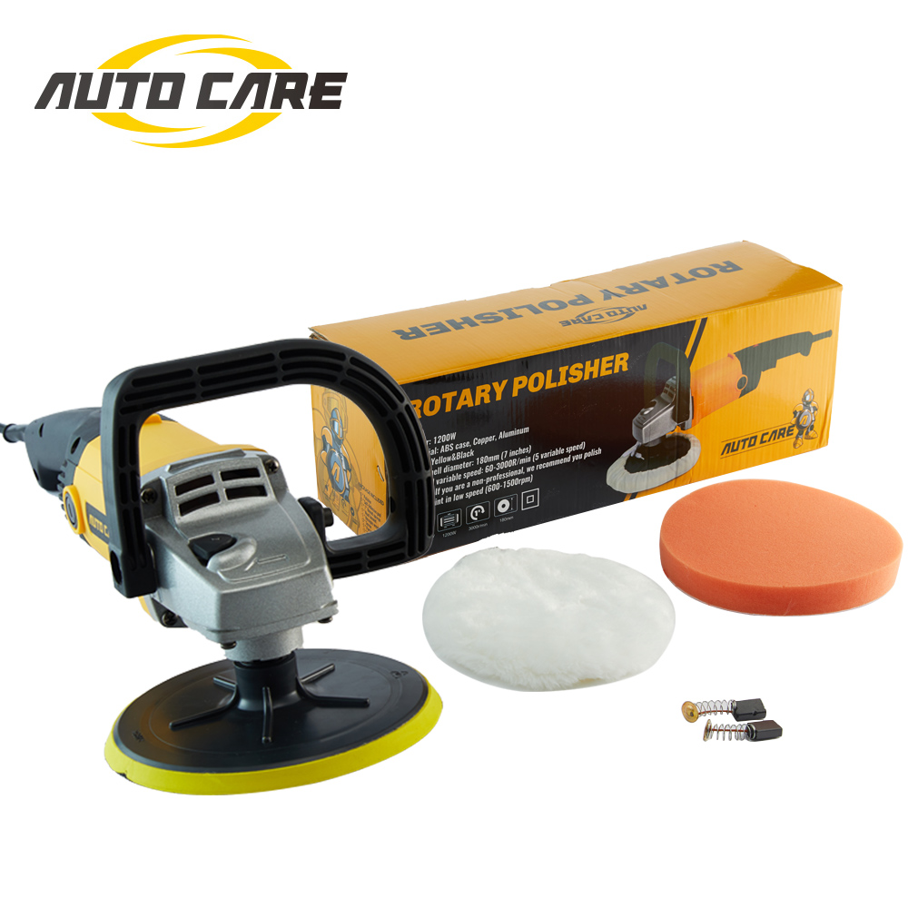 High Speed Car Polisher 6 Variable Speed 1200W High Power Car-polisher For Car Paint Care Polishing Waxing Free Pad Bonnet