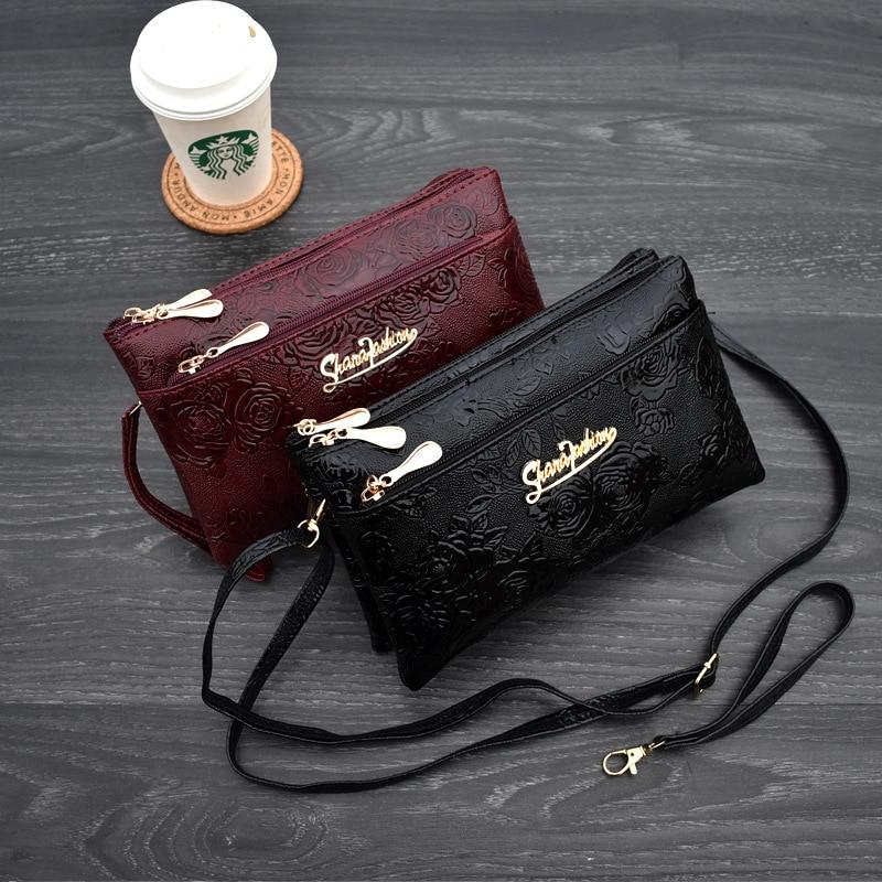 Women's Wallet Four Zipper Long Clutch Bag 3D Knurling Retro Leather Purse Sac Femme Portfel Damski Wristlet Kadın Phone Wallet