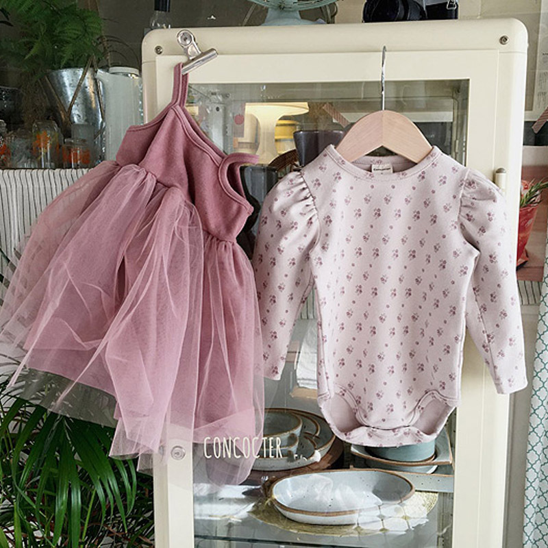 MILANCEL spring  baby clothing set floral bodysuits ball gown dress 2 pcs toddler girls suits