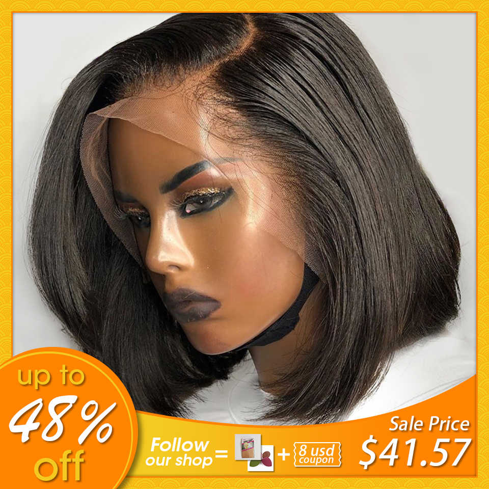 Lace Front Human Hair Wigs For Black Women 13x4 Short Bob Wig Remy Natural Pre Plucked Bleached Knots Full Density JKO