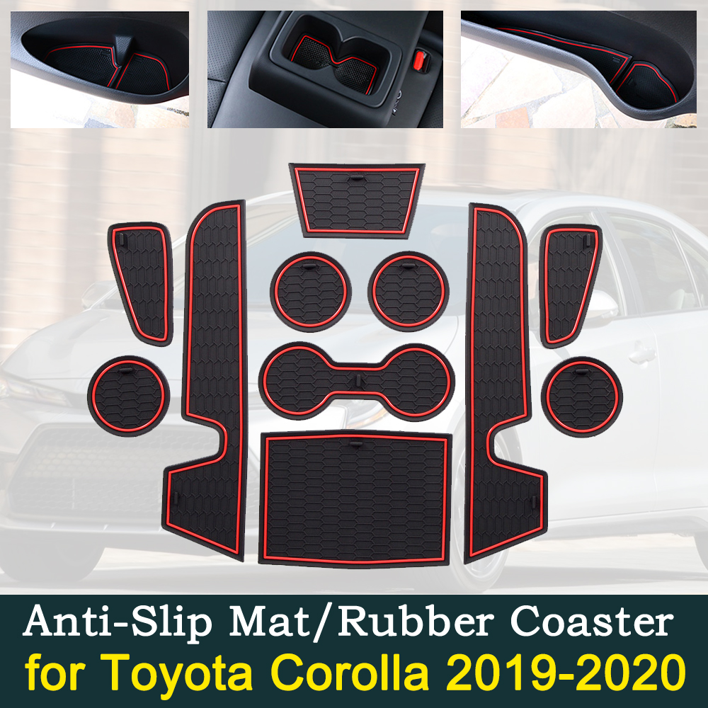 Anti-slip Car Door Rubber Cup Cushion for Toyota Corolla E210 210 2019 2020 2021 Groove Mat Best Car Accessories for phone