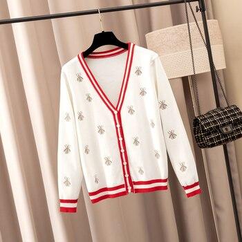 Cárdigan bordado de las abejas del diseñador de moda 2019 cárdigan de punto de las mujeres del otoño de cuello en V prendas de vestir de una sola botonadura cárdigans femeninos
