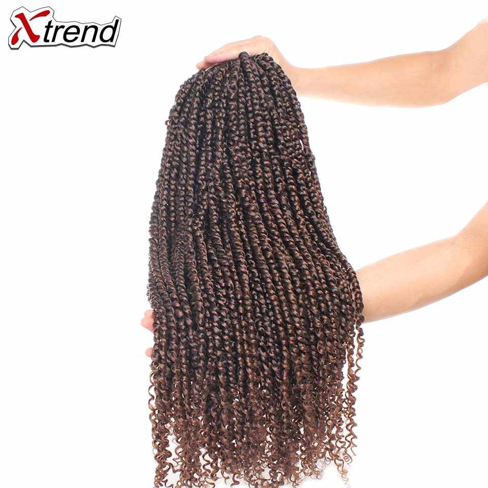 Xtrend 22 inch 55.88cm Pre Twisted Passion Twist Synthetic Twists Crochet Hair Long Ombre Braids Crotchet Braid Fluffy Braiding