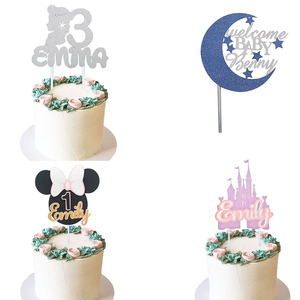 Mermaid Birthday Party Cake Decorating Supplies Cake Topper Custom Name And Age Minnie Mouse Cake Topper Personalised For Girl(China)