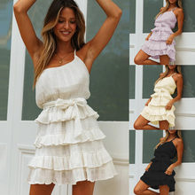 New Fashion Women's Solid Off Shoulder Bandage Cascading Ruffles Camisole Dress summer casual dress for ladies vestidos(China)