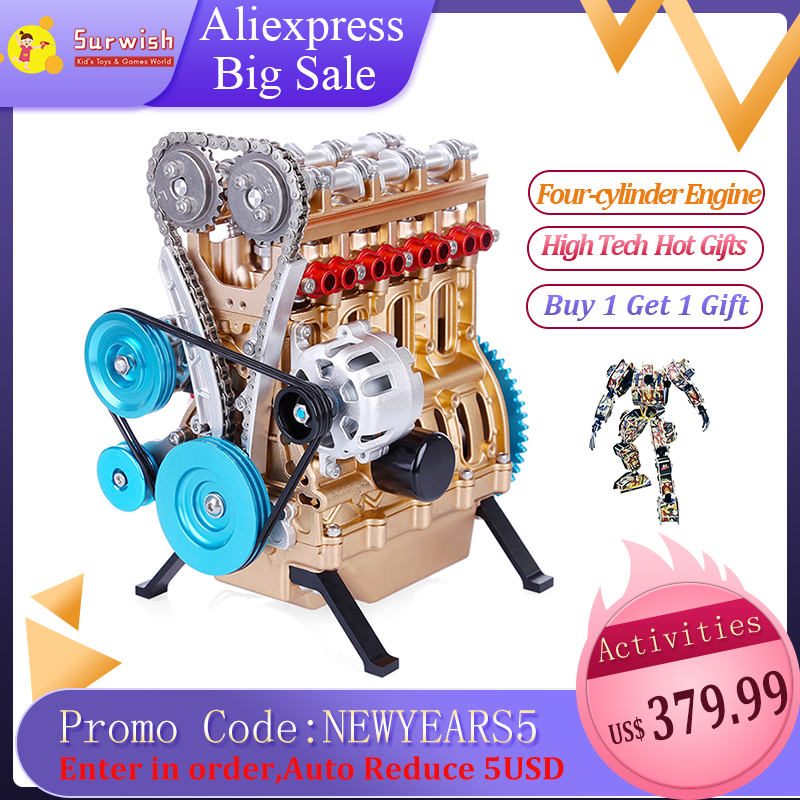 High Recommend All-metal Car Mini Assemble Inline Four-cylinder Engine Model Toys For Adult
