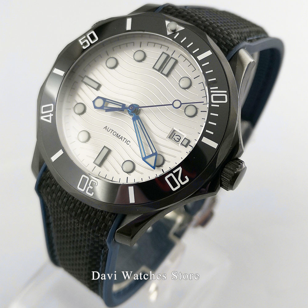 Sapphire Glass 41mm white dial black PVD case Automatic Watch Men Date Window Rotating Bezel