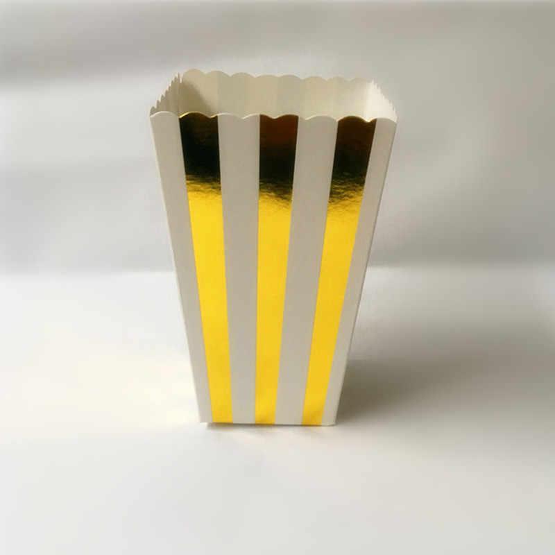 12 шт золото/серебро жесткая бумага мини вечерние коробки для попкорна воздушная Кукуруза конфеты/Sanck любимые пакеты Свадьба День рождения фильм столовая посуда